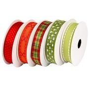 DEKOBAND / RIBBONS / RUBANS ... Motif strap set rood-groen, 5 x 2 meter