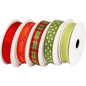 DEKOBAND / RIBBONS / RUBANS ... Bracelet à motifs set-vert rouge, 5 x 2 mètres