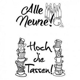 Stempel / Stamp: Transparent tampons transparents, A7, avec le texte allemand