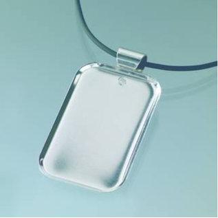 Embellishments / Verzierungen Collier rechthoekig met versiering band, 32 x 50 mm, zilver