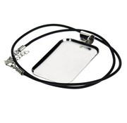 Embellishments / Verzierungen Collier rechteckig mit Schmuckband, 32 x 50 mm, silberfarbig