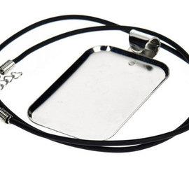 Embellishments / Verzierungen Collier rettangolare con cinturino di ornamento, 32 x 50 mm, argento