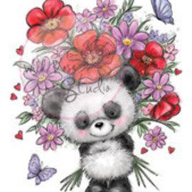 Wild Rose Studio`s Sello transparente, Panda con flor