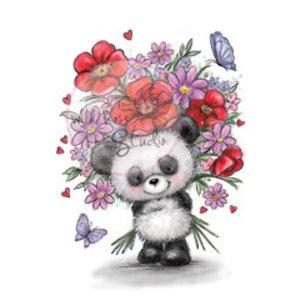 Wild Rose Studio`s Timbre transparent, Panda avec fleur