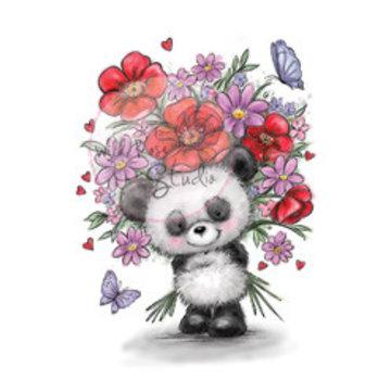 Wild Rose Studio`s Transparante stempel, Panda met bloemen
