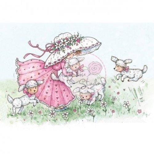 Wild Rose Studio`s Timbre transparent, Annabelle aux agneaux