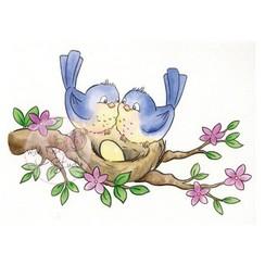 Sello transparente, pájaros en el nido