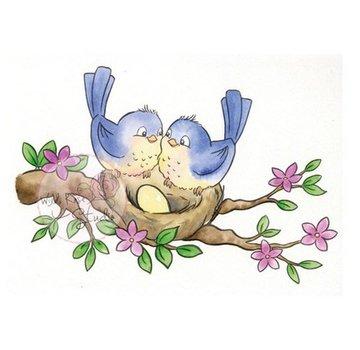 Wild Rose Studio`s Transparante stempel, nest met vogeltjes