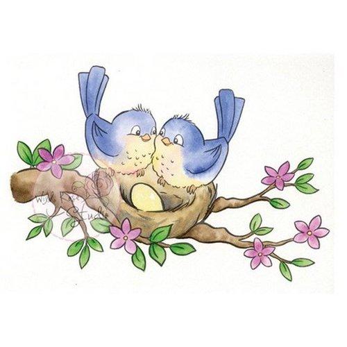 Wild Rose Studio`s Timbre transparent, oiseaux sur le nid