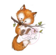 Wild Rose Studio`s Timbre transparent, Fox sur branche