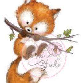 Wild Rose Studio`s Timbre transparent, Fox sur branche