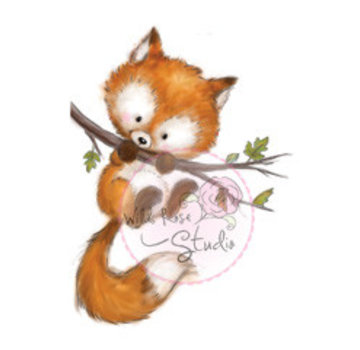 Wild Rose Studio`s Transparent frimærke, Fox on Branch