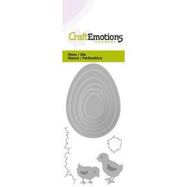 Craftemotions skjæring og preging: Egg med kyllinger Kort 5x10cm
