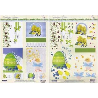 Bilder, 3D Bilder und ausgestanzte Teile usw... Stamped sheets with background sheet: Easter