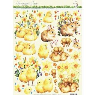 feuilles de poinçonnage avec arc en arrière-plan: Pâques