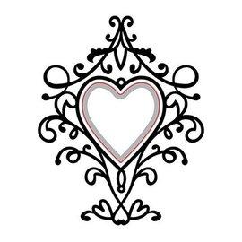 Nellie Snellen skæring og prægning Stencils: Heart-swirls