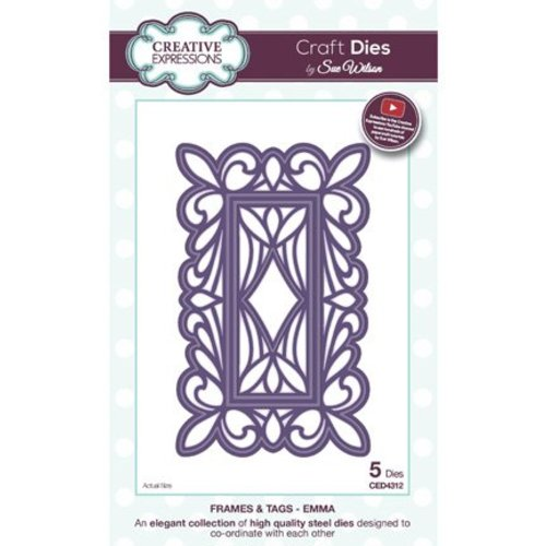 CREATIVE EXPRESSIONS und COUTURE CREATIONS cutting and embossing Stencils: decorative frame, 5 parts, largest format: 8 x 13cm