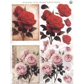 Bilder, 3D Bilder und ausgestanzte Teile usw... A4 Stanzbogen: Rosen