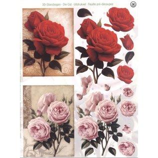 Bilder, 3D Bilder und ausgestanzte Teile usw... A4 cut ark: Roses