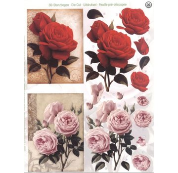 Bilder, 3D Bilder und ausgestanzte Teile usw... A4 cut ark: Roser