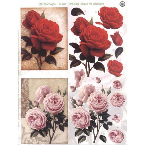 Bilder, 3D Bilder und ausgestanzte Teile usw... A4 feuilles coupées: Roses