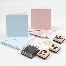 KARTEN und Zubehör / Cards Håndverkssett: Baby, kort og frimerkesett, kortstørrelse 7,5x7,5 cm, konvoluttstørrelse 8,5x8,5 cm, lyseblå, lys rosa, baby
