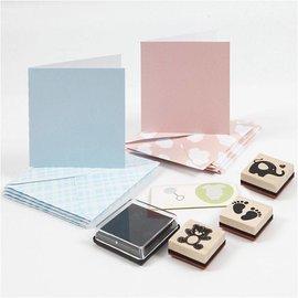 KARTEN und Zubehör / Cards Set di artigianato: set per neonato, biglietti e francobolli, formato della carta 7,5x7,5 cm, formato busta 8,5x8,5 cm, azzurro, rosa chiaro, bambino