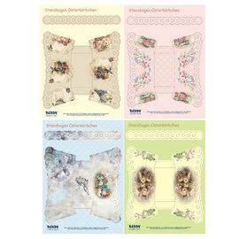 BASTELSETS / CRAFT KITS Stanzbogen- Set A4 für 4 Osterkörbchen mit Henkel