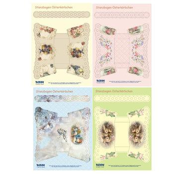 BASTELSETS / CRAFT KITS Stanzbogen- Set A4 per 4 Cesti di Pasqua con le maniglie