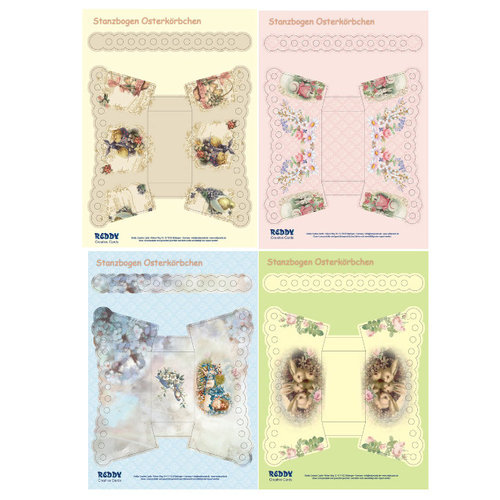 BASTELSETS / CRAFT KITS Stanzbogen- Set A4 voor 4 Pasen Manden met handvatten
