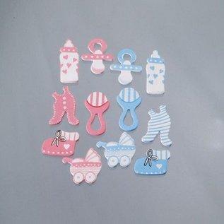 Embellishments / Verzierungen Embellishments / ornaments made of wood, baby accessories, 40 mm, 12 pieces, pink / light blue