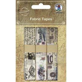 Designer Papier Scrapbooking: 30,5 x 30,5 cm Papier Scrapbooking Vintage Fabric Tape, selvklæbende, 3 forskelligartet Motive