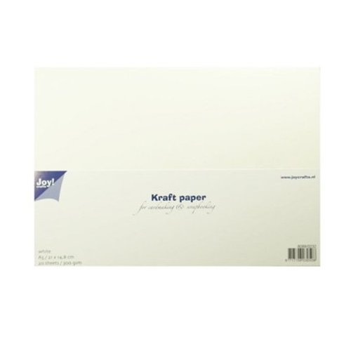 KARTEN und Zubehör / Cards Kraft Papier, weiss, 20 Blatt / 300gsm, A5 / 21x14,8cm