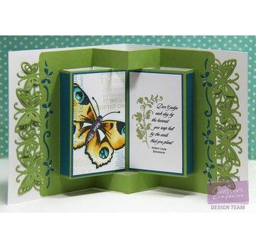 Die'sire coupe et gaufrage modèle: frontière / bords avec des papillons