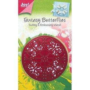 Joy!Crafts / Jeanine´s Art, Hobby Solutions Dies /  Snij en embossing sjabloon: rond, vlinders, 6002 0244, 89 mm diameter