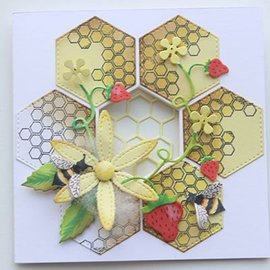 Joy!Crafts / Jeanine´s Art, Hobby Solutions Dies /  Corte y estampado de plantilla + sello: Honeycomb