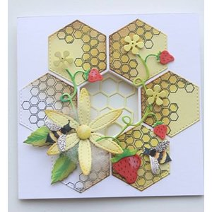 Joy!Crafts / Jeanine´s Art, Hobby Solutions Dies /  Découpe et gaufrage Modèle + timbre: Nid d'abeille