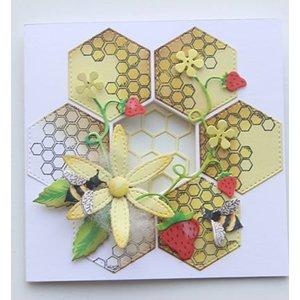 Joy!Crafts / Jeanine´s Art, Hobby Solutions Dies /  Skæring og prægning Skabelon + frimærke: Honeycomb