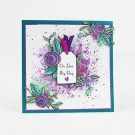 Tonic Studio´s timbre en caoutchouc: Etiquette avec fleur