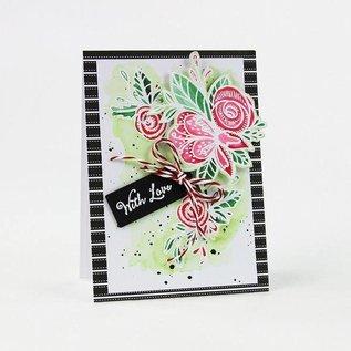 Tonic Studio´s Rubber zegel: Etiket met bloem