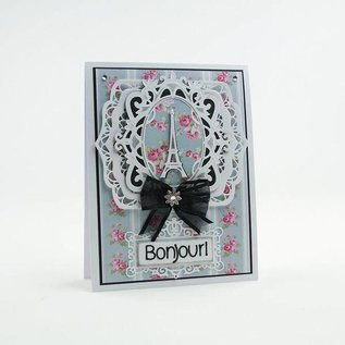 Tonic Studio´s cutting and embossing template: filigree label