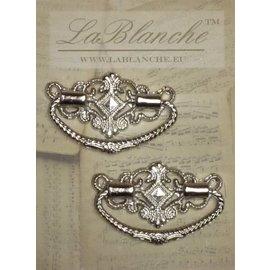 Embellishments / Verzierungen Manche élégant en métal, argent, 2 pièces