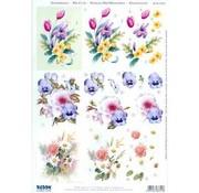 Bilder, 3D Bilder und ausgestanzte Teile usw... fogli A4: mazzi di fiori