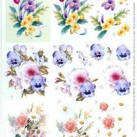 Bilder, 3D Bilder und ausgestanzte Teile usw... A4 feuilles coupées: bouquets de fleurs
