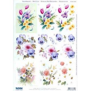 Bilder, 3D Bilder und ausgestanzte Teile usw... A4 cut ark: blomsterbuketter