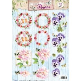 Bilder, 3D Bilder und ausgestanzte Teile usw... A4-støbt ark: Smukke blomster