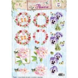 Bilder, 3D Bilder und ausgestanzte Teile usw... Feuille perforée A4: belles fleurs