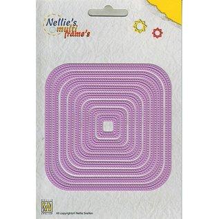 "Nellie Snellen Snij- en embossing Sjablonen: Multi Frame Die ""straight dotted square"" max. 10,2"