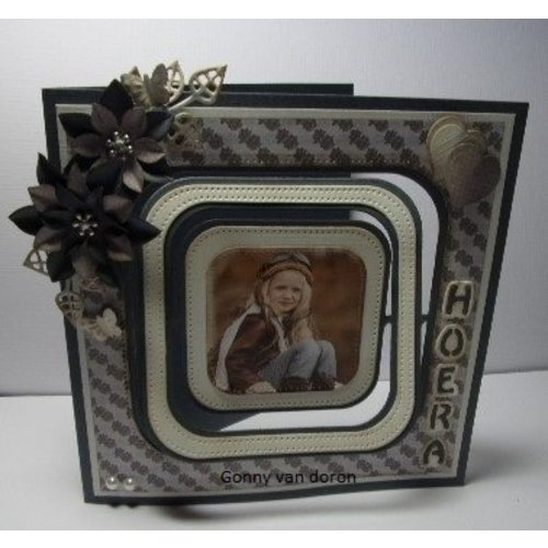 "Nellie Snellen cutting and embossing Stencils: Multi Frame straight dotted square"" max. 10,2"
