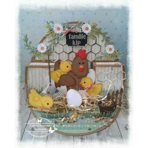 Marianne Design Modèle de coupe et de gaufrage: mère poulet et poussins